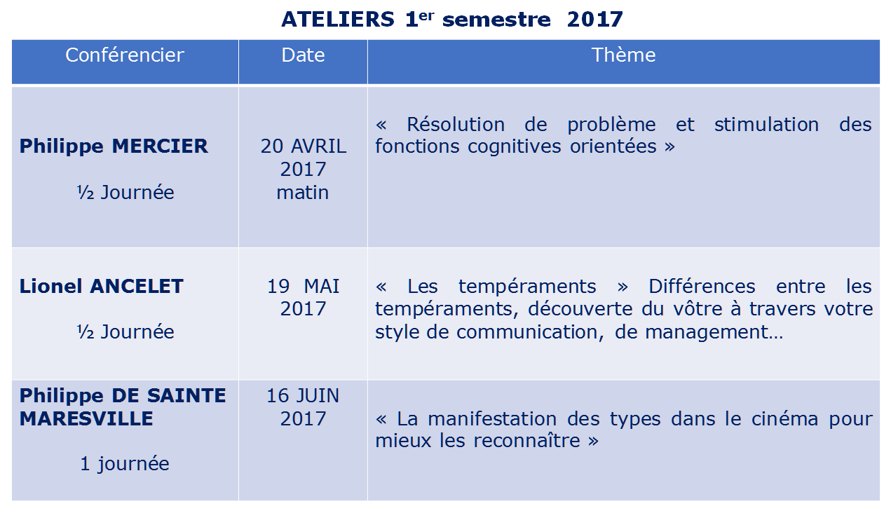AFTP - Ateliers 1H2017